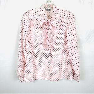 Vintage Alfred dunner polka dot pussy bow blouse
